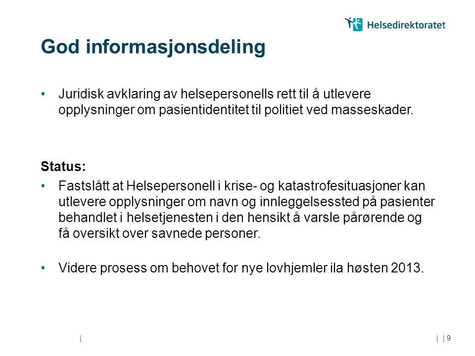 || God informasjonsdeling Juridisk avklaring av helsepersonells rett til å utlevere opplysninger om pasientidentitet til politiet ved masseskader. Sta