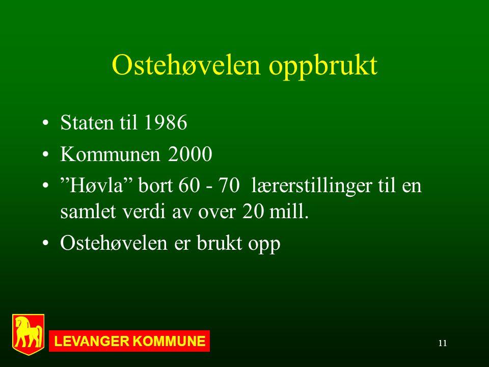 LEVANGER KOMMUNE 11 Ostehøvelen oppbrukt Staten til 1986 Kommunen 2000 Høvla bort 60 - 70 lærerstillinger til en samlet verdi av over 20 mill.