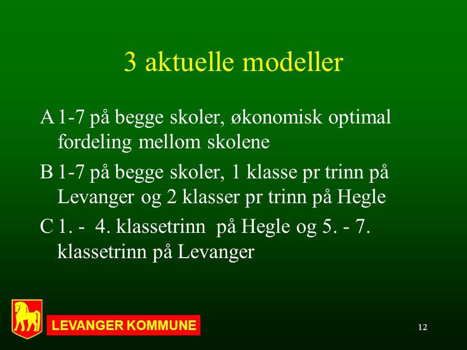 LEVANGER KOMMUNE 12 3 aktuelle modeller A1-7 på begge skoler, økonomisk optimal fordeling mellom skolene B1-7 på begge skoler, 1 klasse pr trinn på Levanger og 2 klasser pr trinn på Hegle C1.