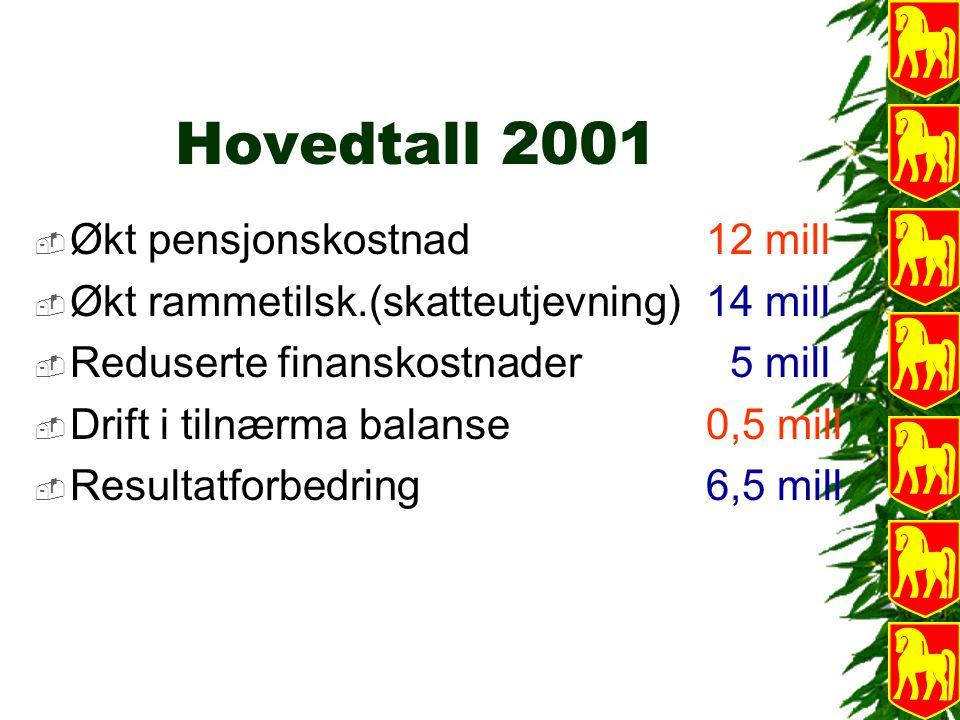 Hovedtall 2001  Økt pensjonskostnad 12 mill  Økt rammetilsk.(skatteutjevning) 14 mill  Reduserte finanskostnader 5 mill  Drift i tilnærma balanse0