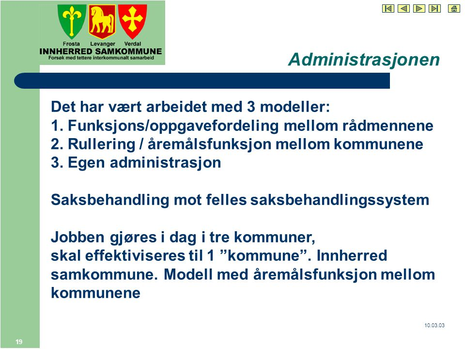 10.03.03 19 Administrasjonen Det har vært arbeidet med 3 modeller: 1.
