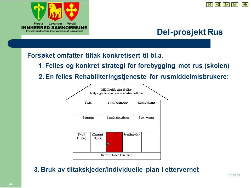10.03.03 24 Del-prosjekt Rus Forsøket omfatter tiltak konkretisert til bl.a.