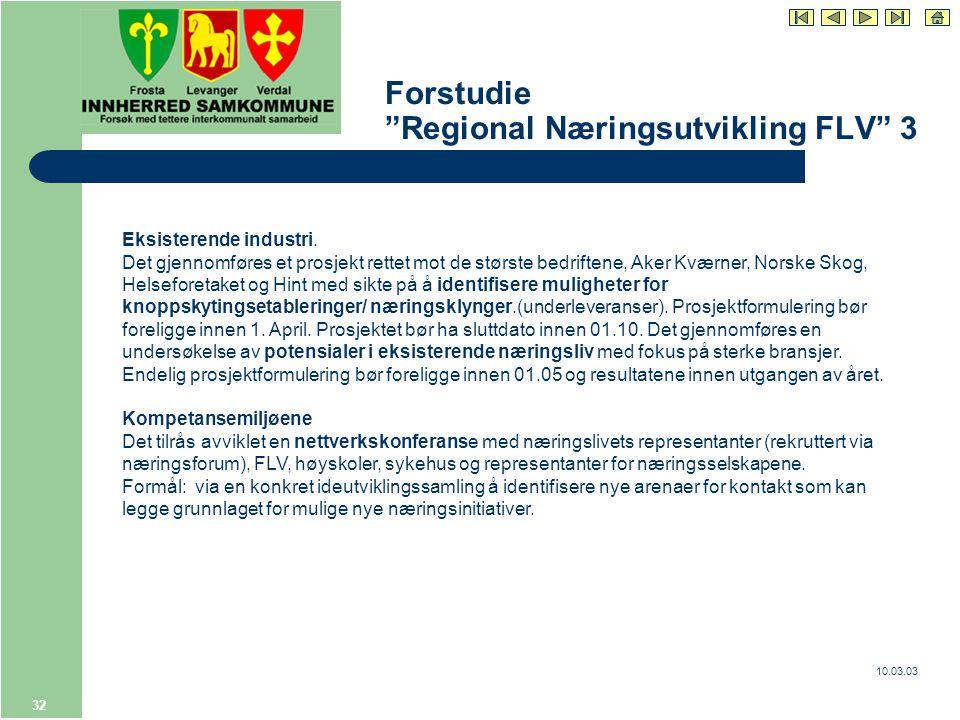 10.03.03 32 Forstudie Regional Næringsutvikling FLV 3 Eksisterende industri.
