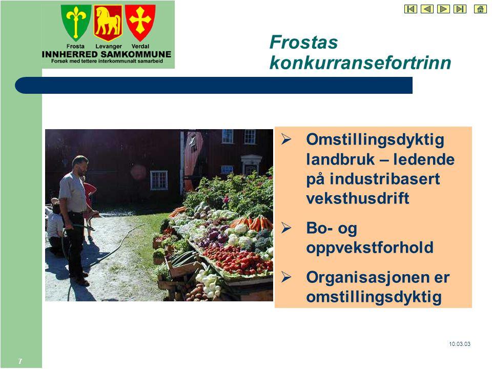 10.03.03 7 Frostas konkurransefortrinn  Omstillingsdyktig landbruk – ledende på industribasert veksthusdrift  Bo- og oppvekstforhold  Organisasjonen er omstillingsdyktig