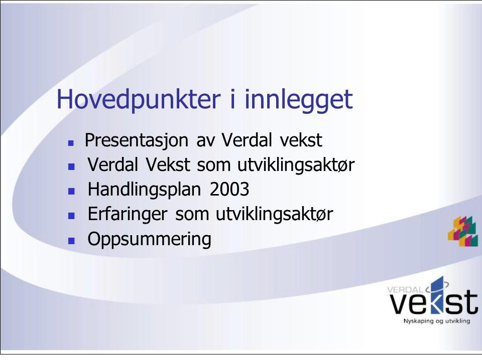 Hovedpunkter i innlegget Presentasjon av Verdal vekst Verdal Vekst som utviklingsaktør Handlingsplan 2003 Erfaringer som utviklingsaktør Oppsummering