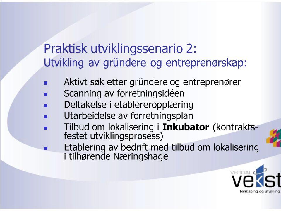 Praktisk utviklingssenario 2: Utvikling av gründere og entreprenørskap: Aktivt søk etter gründere og entreprenører Scanning av forretningsidéen Deltakelse i etablereropplæring Utarbeidelse av forretningsplan Tilbud om lokalisering i Inkubator (kontrakts- festet utviklingsprosess) Etablering av bedrift med tilbud om lokalisering i tilhørende Næringshage