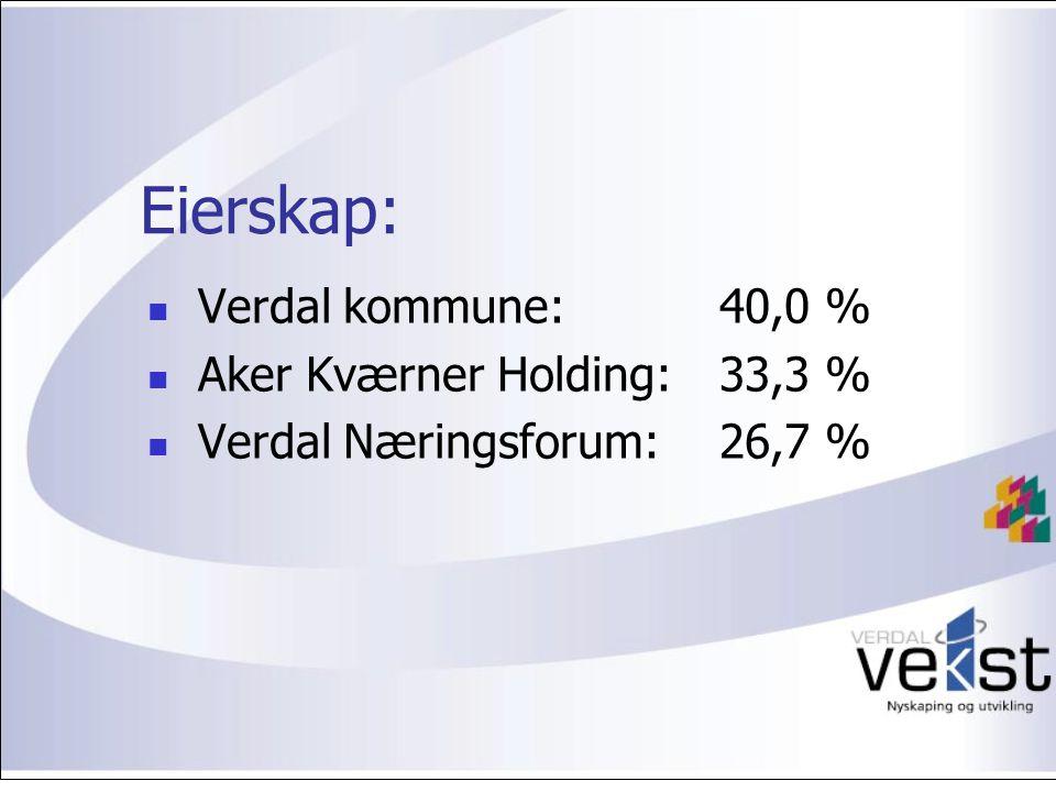 Eierskap: Verdal kommune: 40,0 % Aker Kværner Holding: 33,3 % Verdal Næringsforum: 26,7 %