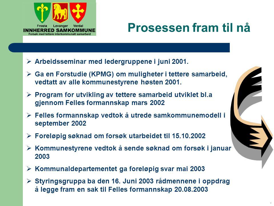 - Prosessen fram til nå  Arbeidsseminar med ledergruppene i juni 2001.