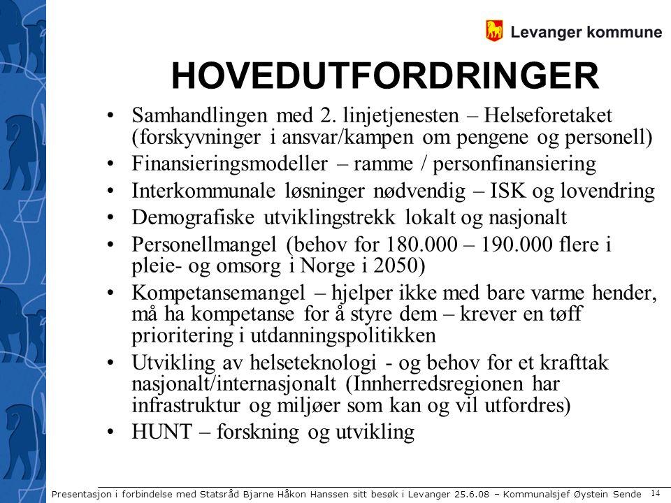 Presentasjon i forbindelse med Statsråd Bjarne Håkon Hanssen sitt besøk i Levanger 25.6.08 – Kommunalsjef Øystein Sende 14 HOVEDUTFORDRINGER Samhandlingen med 2.