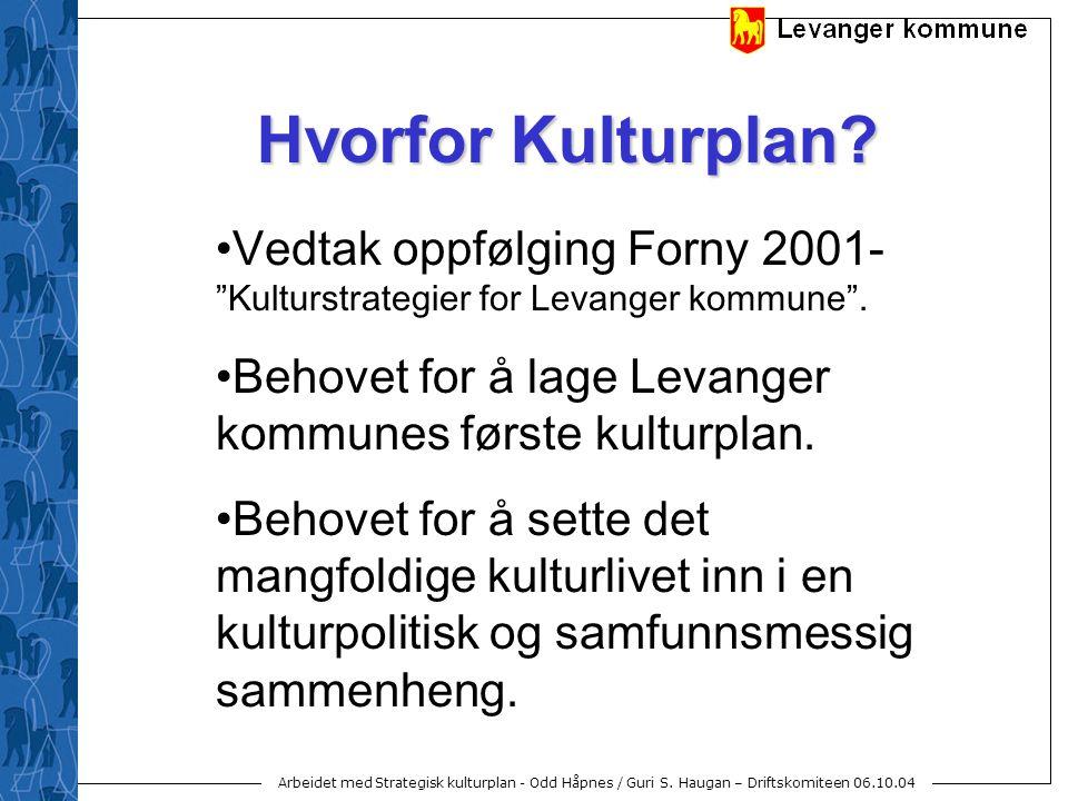 """Arbeidet med Strategisk kulturplan - Odd Håpnes / Guri S. Haugan – Driftskomiteen 06.10.04 Hvorfor Kulturplan? Vedtak oppfølging Forny 2001- """"Kulturst"""