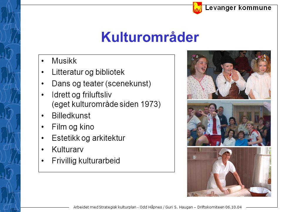 Arbeidet med Strategisk kulturplan - Odd Håpnes / Guri S. Haugan – Driftskomiteen 06.10.04 Kulturområder Musikk Litteratur og bibliotek Dans og teater
