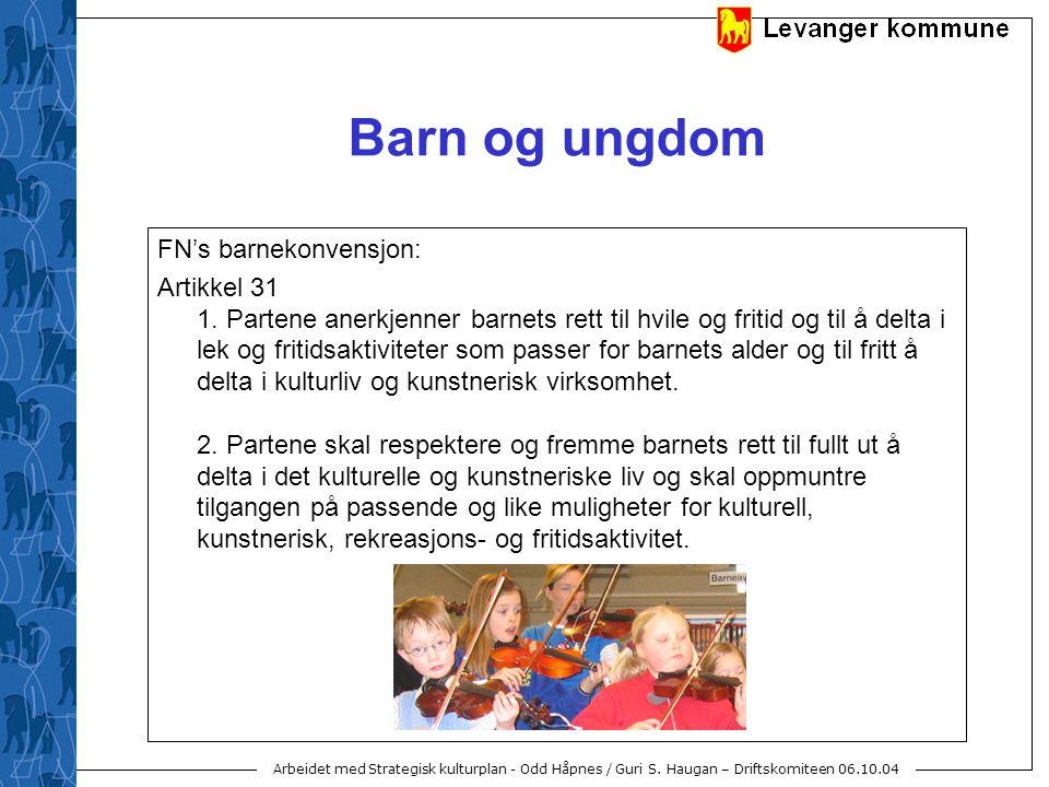 Arbeidet med Strategisk kulturplan - Odd Håpnes / Guri S. Haugan – Driftskomiteen 06.10.04 Barn og ungdom FN's barnekonvensjon: Artikkel 31 1. Partene