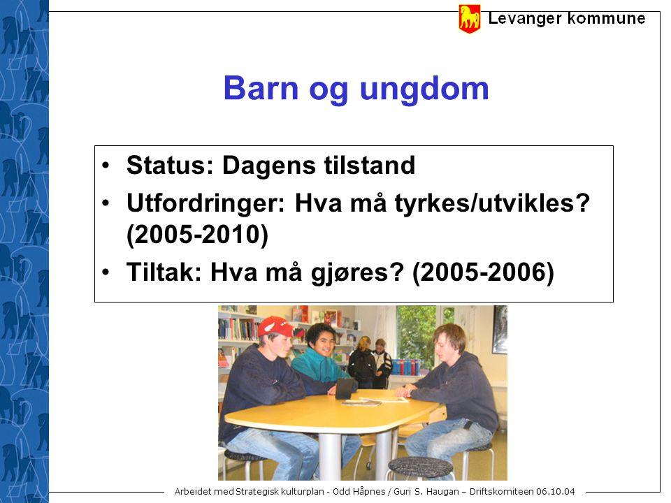 Arbeidet med Strategisk kulturplan - Odd Håpnes / Guri S. Haugan – Driftskomiteen 06.10.04 Barn og ungdom Status: Dagens tilstand Utfordringer: Hva må