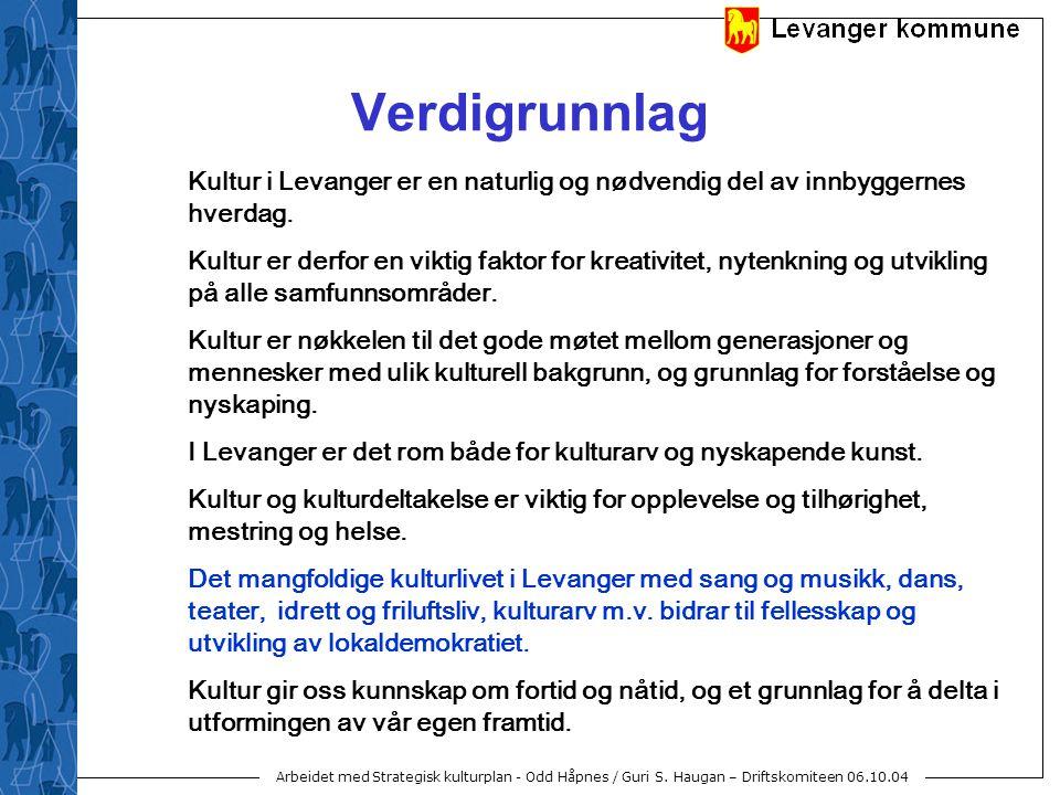 Arbeidet med Strategisk kulturplan - Odd Håpnes / Guri S. Haugan – Driftskomiteen 06.10.04 Verdigrunnlag Kultur i Levanger er en naturlig og nødvendig