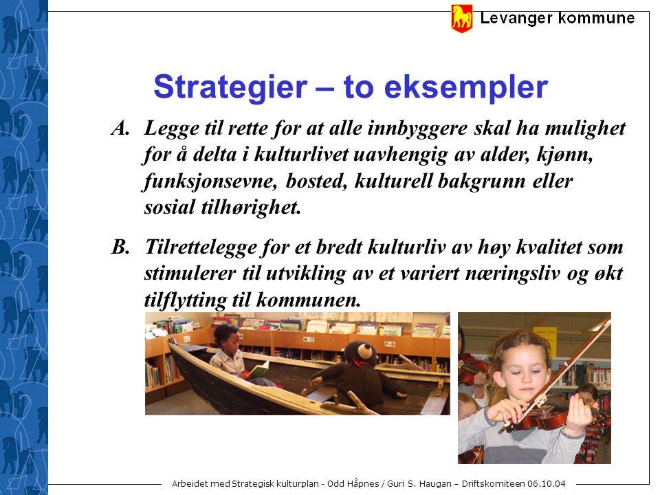 Arbeidet med Strategisk kulturplan - Odd Håpnes / Guri S. Haugan – Driftskomiteen 06.10.04 Strategier – to eksempler A.Legge til rette for at alle inn