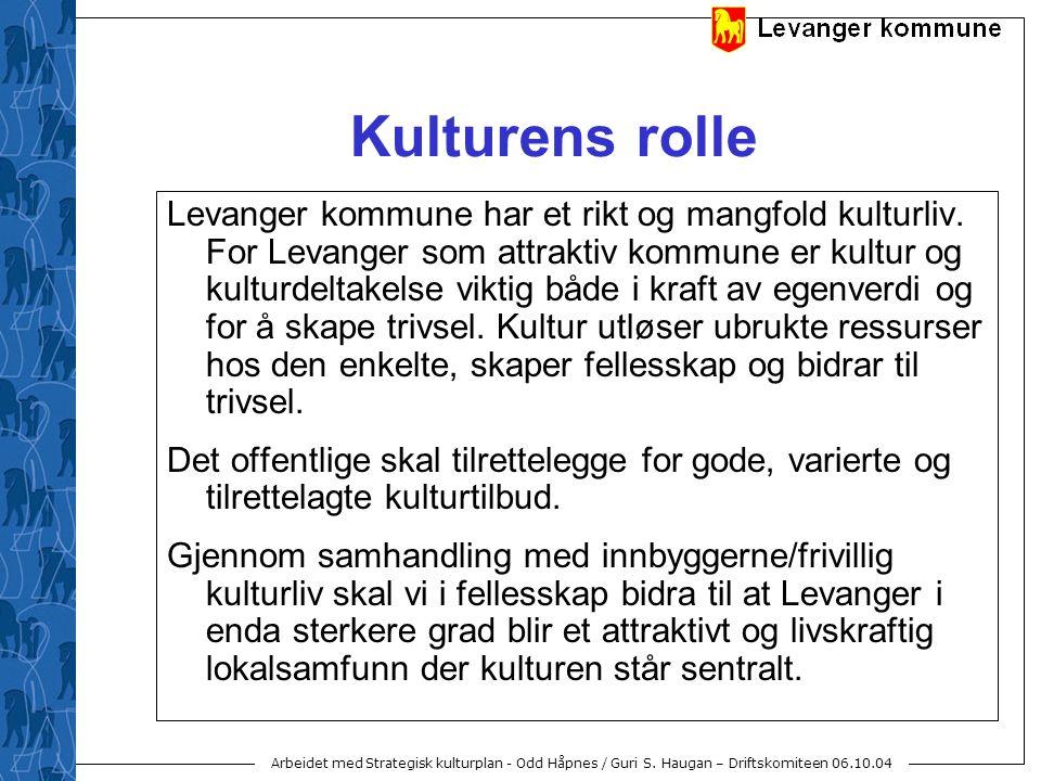 Arbeidet med Strategisk kulturplan - Odd Håpnes / Guri S. Haugan – Driftskomiteen 06.10.04 Kulturens rolle Levanger kommune har et rikt og mangfold ku