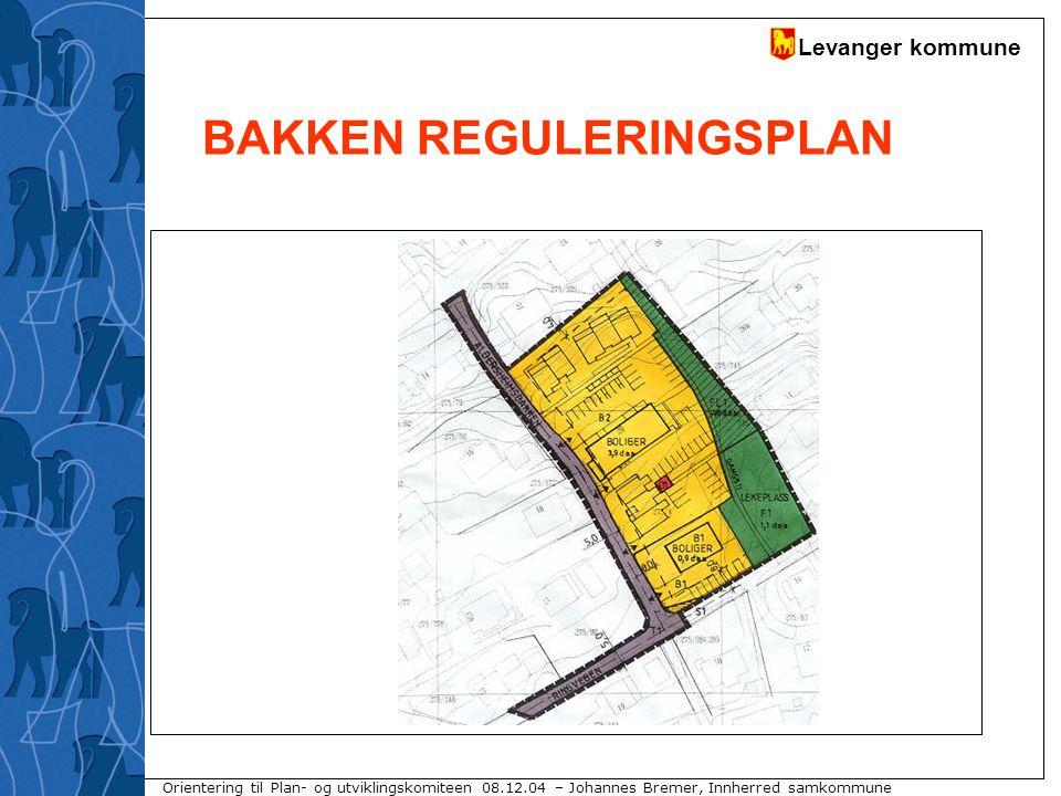 Levanger kommune Orientering til Plan- og utviklingskomiteen 08.12.04 – Johannes Bremer, Innherred samkommune BAKKEN REGULERINGSPLAN