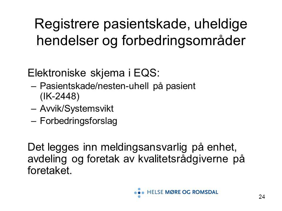 24 Registrere pasientskade, uheldige hendelser og forbedringsområder Elektroniske skjema i EQS: –Pasientskade/nesten-uhell på pasient (IK-2448) –Avvik