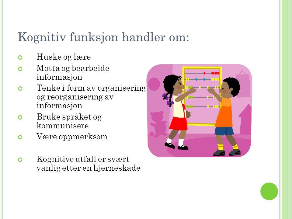 Kognitiv funksjon handler om: Huske og lære Motta og bearbeide informasjon Tenke i form av organisering og reorganisering av informasjon Bruke språket