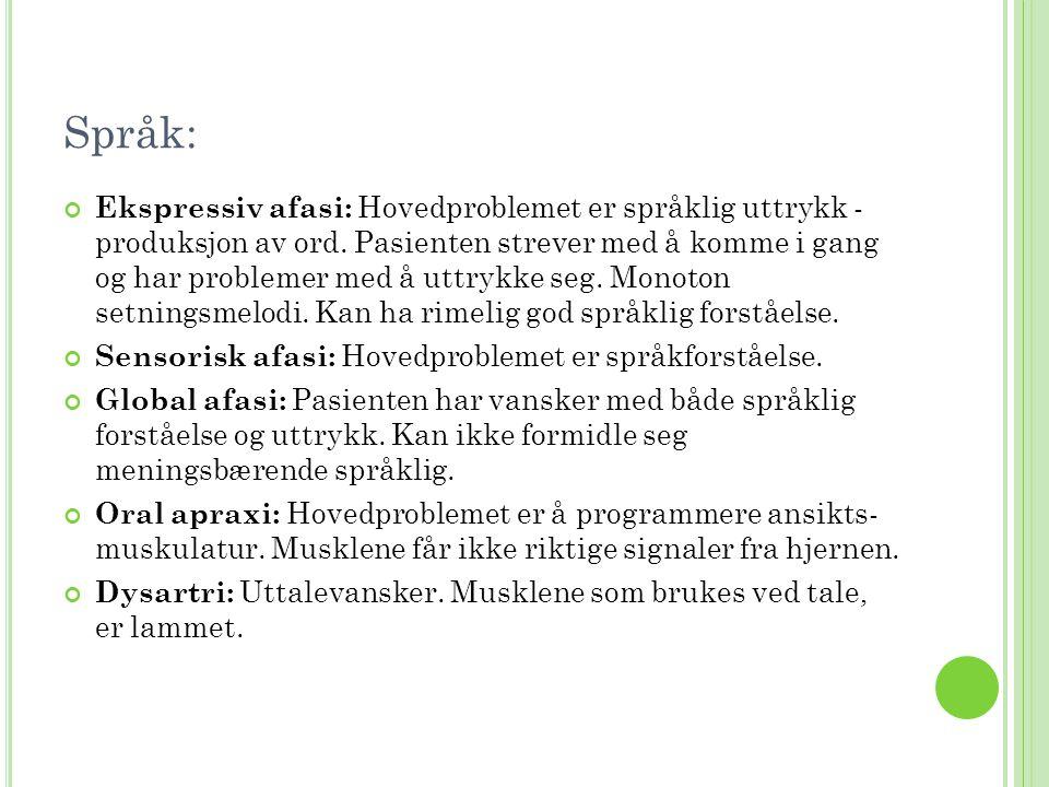 Språk: Ekspressiv afasi: Hovedproblemet er språklig uttrykk - produksjon av ord. Pasienten strever med å komme i gang og har problemer med å uttrykke