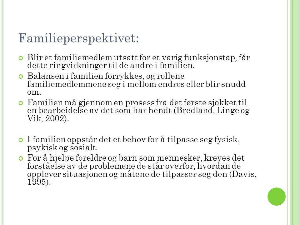 Familieperspektivet: Blir et familiemedlem utsatt for et varig funksjonstap, får dette ringvirkninger til de andre i familien. Balansen i familien for