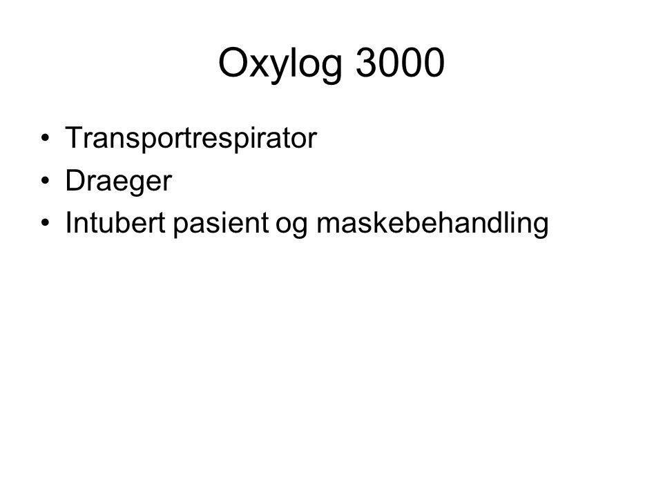 Oxylog 3000 Transportrespirator Draeger Intubert pasient og maskebehandling