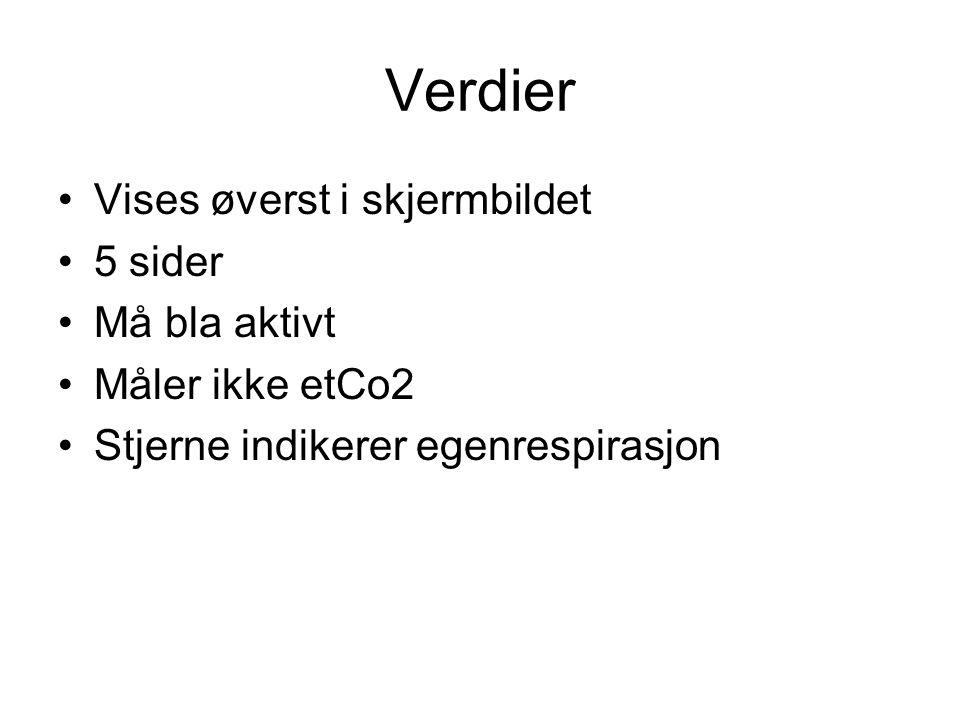 Verdier Vises øverst i skjermbildet 5 sider Må bla aktivt Måler ikke etCo2 Stjerne indikerer egenrespirasjon