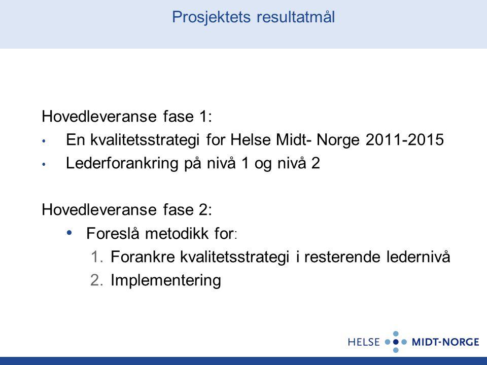 Prosjektets resultatmål Hovedleveranse fase 1: En kvalitetsstrategi for Helse Midt- Norge 2011-2015 Lederforankring på nivå 1 og nivå 2 Hovedleveranse
