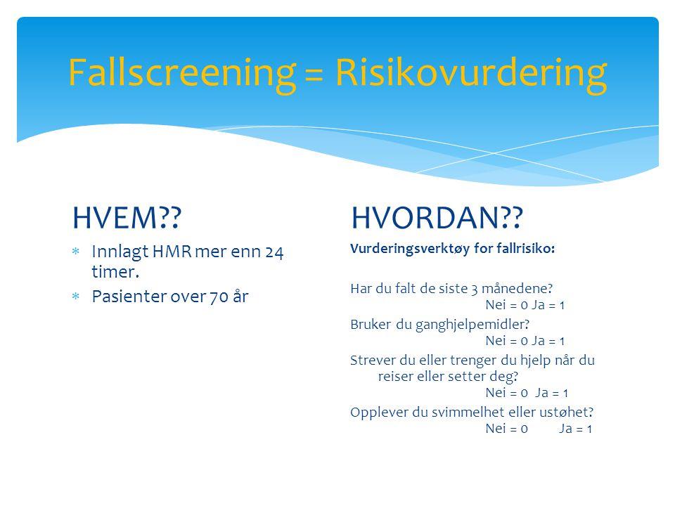 Fallscreening = Risikovurdering HVEM?. Innlagt HMR mer enn 24 timer.