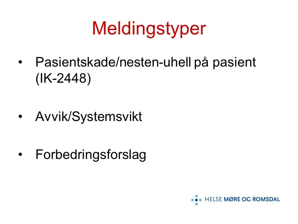 Meldingstyper Pasientskade/nesten-uhell på pasient (IK-2448) Avvik/Systemsvikt Forbedringsforslag
