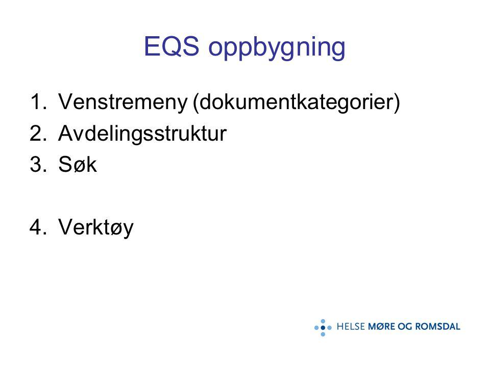 Hvordan bruke EQS Et redskap for å: –Hjelpe/synliggjøre hva som bør/skal dokumenteres –Raskt finne nødvendig dokumentasjon/prosedyre ved behov –Melde fra ved uheldige hendelser