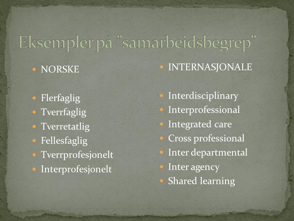 NORSKE Flerfaglig Tverrfaglig Tverretatlig Fellesfaglig Tverrprofesjonelt Interprofesjonelt INTERNASJONALE Interdisciplinary Interprofessional Integra