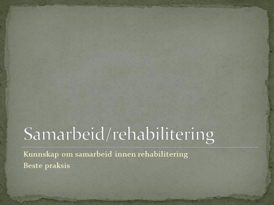 Kunnskap om samarbeid innen rehabilitering Beste praksis