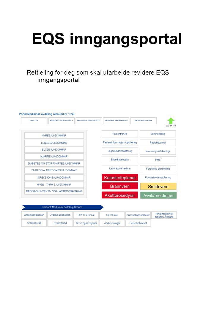 EQS inngangsportal Rettleiing for deg som skal utarbeide revidere EQS inngangsportal