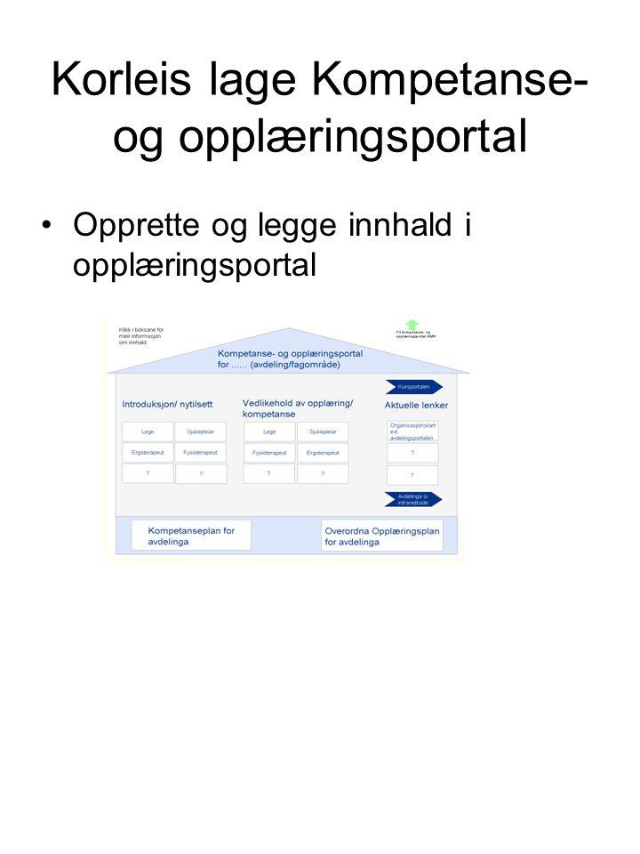 Korleis lage Kompetanse- og opplæringsportal Opprette og legge innhald i opplæringsportal