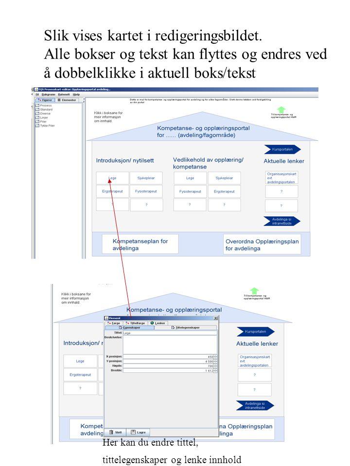 Slik vises kartet i redigeringsbildet. Alle bokser og tekst kan flyttes og endres ved å dobbelklikke i aktuell boks/tekst Her kan du endre tittel, tit