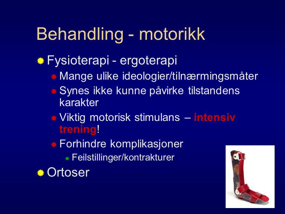 Behandling - motorikk  Fysioterapi - ergoterapi  Mange ulike ideologier/tilnærmingsmåter  Synes ikke kunne påvirke tilstandens karakter  Viktig motorisk stimulans – intensiv trening.