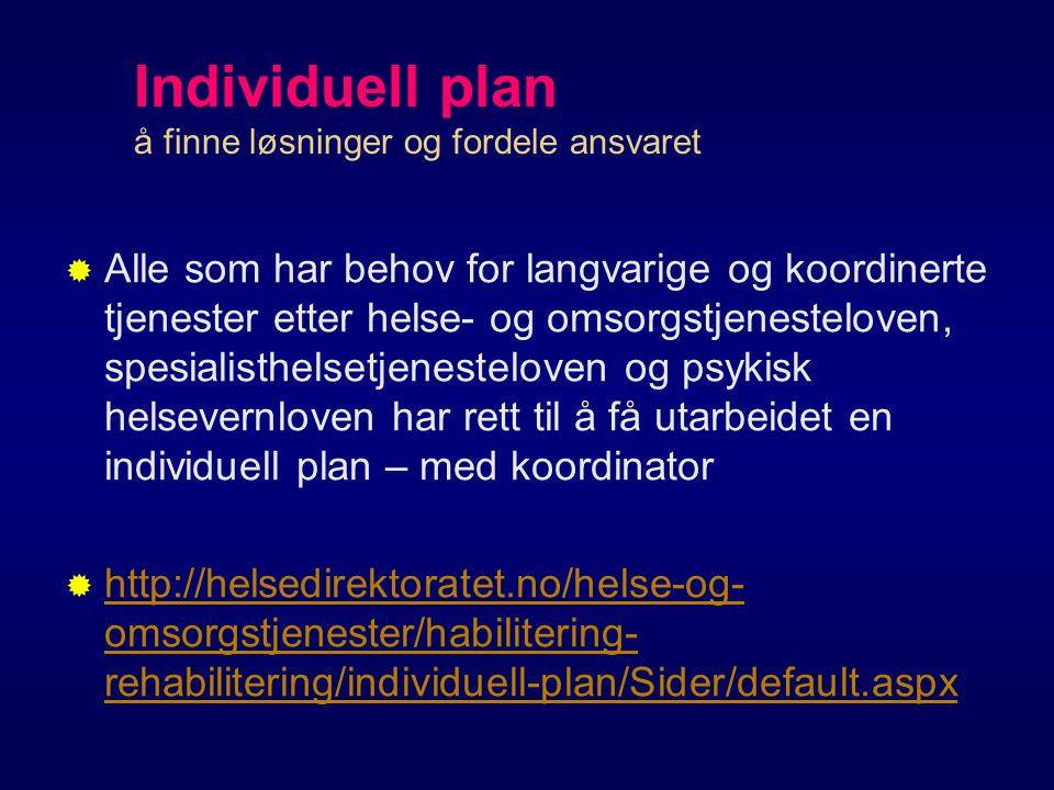 Individuell plan å finne løsninger og fordele ansvaret   Alle som har behov for langvarige og koordinerte tjenester etter helse- og omsorgstjenesteloven, spesialisthelsetjenesteloven og psykisk helsevernloven har rett til å få utarbeidet en individuell plan – med koordinator  http://helsedirektoratet.no/helse-og- omsorgstjenester/habilitering- rehabilitering/individuell-plan/Sider/default.aspx http://helsedirektoratet.no/helse-og- omsorgstjenester/habilitering- rehabilitering/individuell-plan/Sider/default.aspx