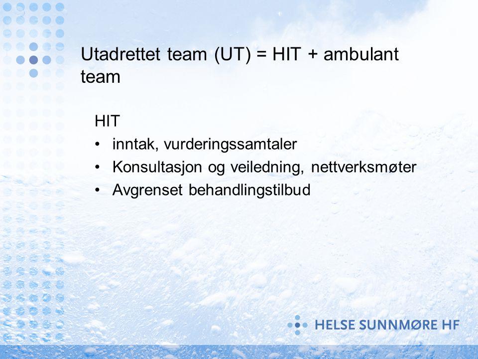 Utadrettet team (UT) = HIT + ambulant team HIT inntak, vurderingssamtaler Konsultasjon og veiledning, nettverksmøter Avgrenset behandlingstilbud