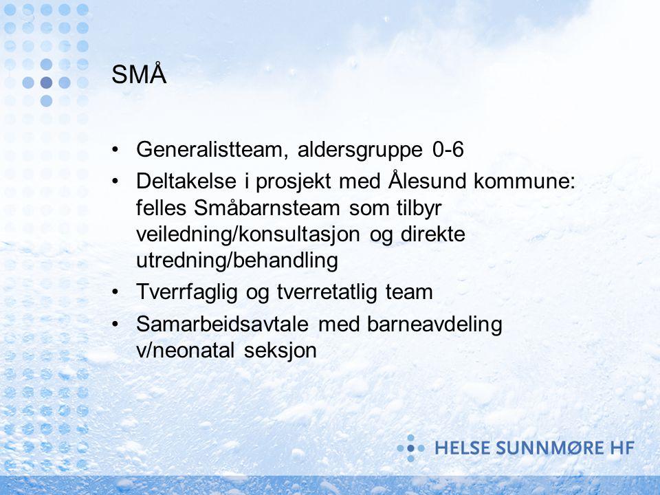 SMÅ Generalistteam, aldersgruppe 0-6 Deltakelse i prosjekt med Ålesund kommune: felles Småbarnsteam som tilbyr veiledning/konsultasjon og direkte utre