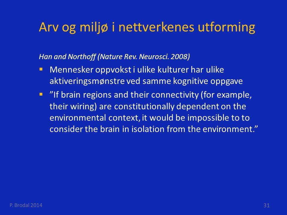Arv og miljø i nettverkenes utforming Han and Northoff (Nature Rev. Neurosci. 2008)  Mennesker oppvokst i ulike kulturer har ulike aktiveringsmønstre