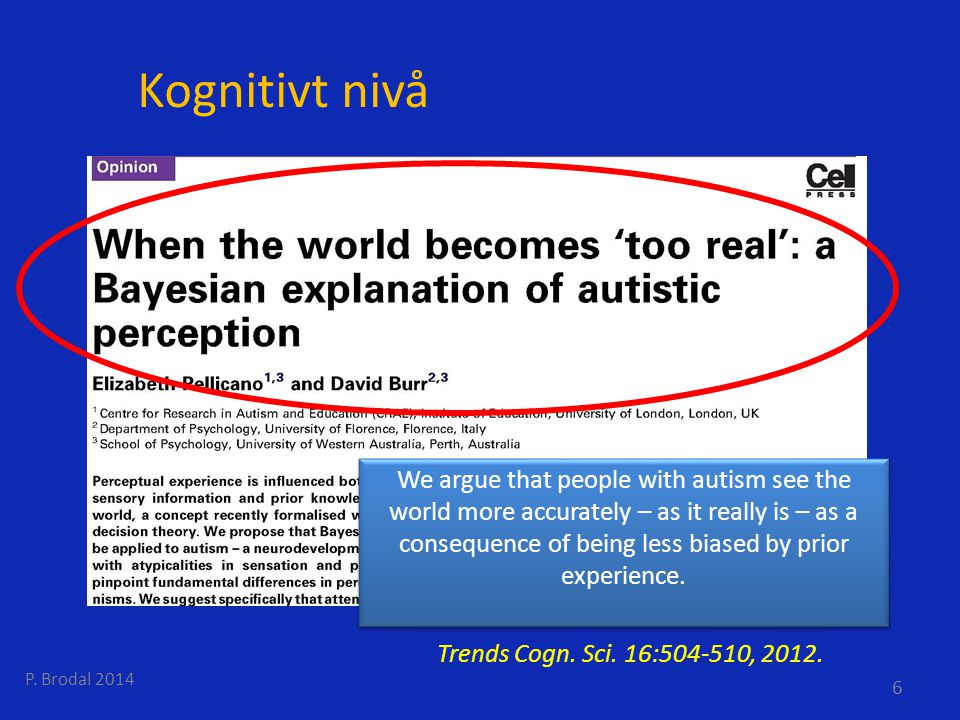 Kognitivt nivå P. Brodal 2014 6 Trends Cogn. Sci. 16:504-510, 2012. We argue that people with autism see the world more accurately – as it really is –