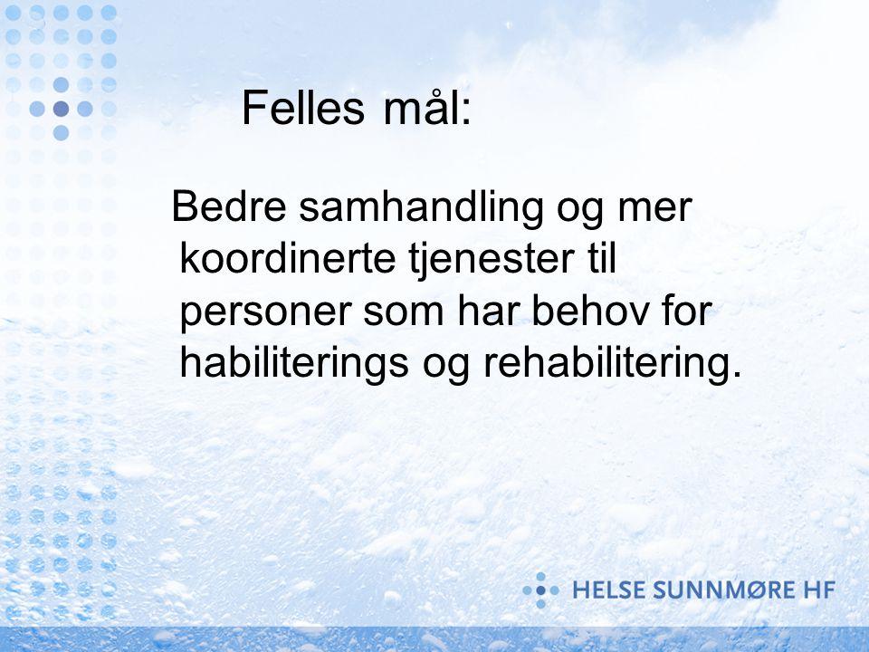 Felles mål: Bedre samhandling og mer koordinerte tjenester til personer som har behov for habiliterings og rehabilitering.