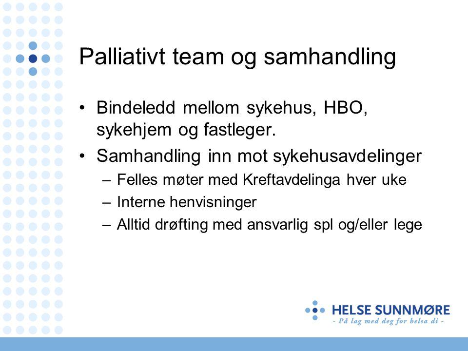 Palliativt team og samhandling Bindeledd mellom sykehus, HBO, sykehjem og fastleger. Samhandling inn mot sykehusavdelinger –Felles møter med Kreftavde