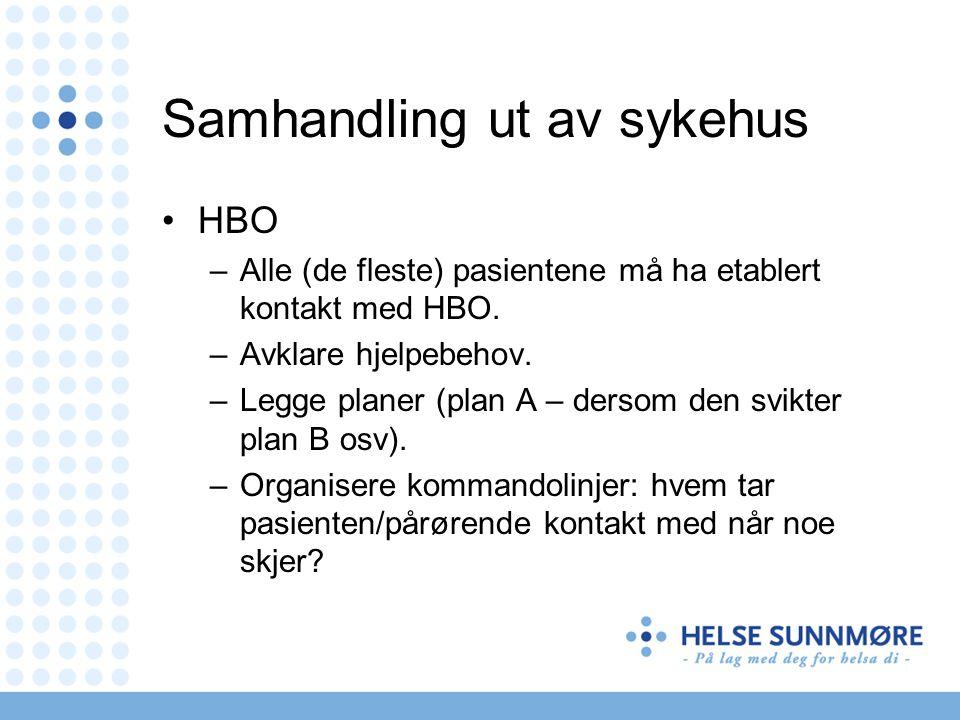 Samhandling ut av sykehus HBO –Alle (de fleste) pasientene må ha etablert kontakt med HBO. –Avklare hjelpebehov. –Legge planer (plan A – dersom den sv