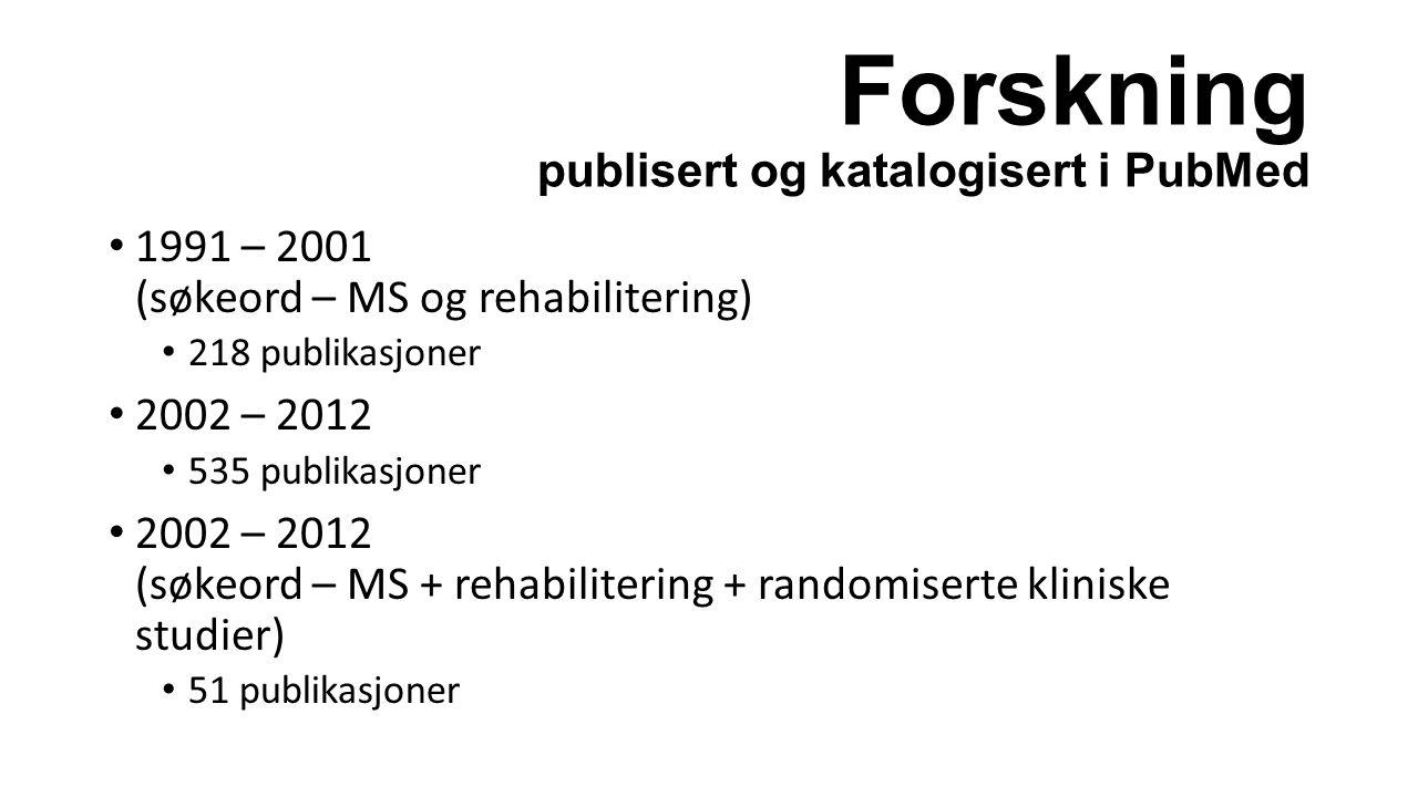 Forskning publisert og katalogisert i PubMed 1991 – 2001 (søkeord – MS og rehabilitering) 218 publikasjoner 2002 – 2012 535 publikasjoner 2002 – 2012