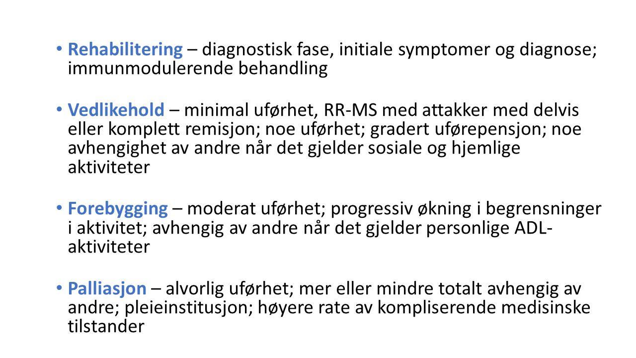 Rehabilitering – diagnostisk fase, initiale symptomer og diagnose; immunmodulerende behandling Vedlikehold – minimal uførhet, RR-MS med attakker med d
