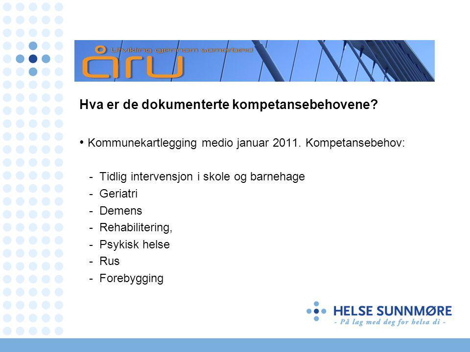 Hva er de dokumenterte kompetansebehovene. Kommunekartlegging medio januar 2011.