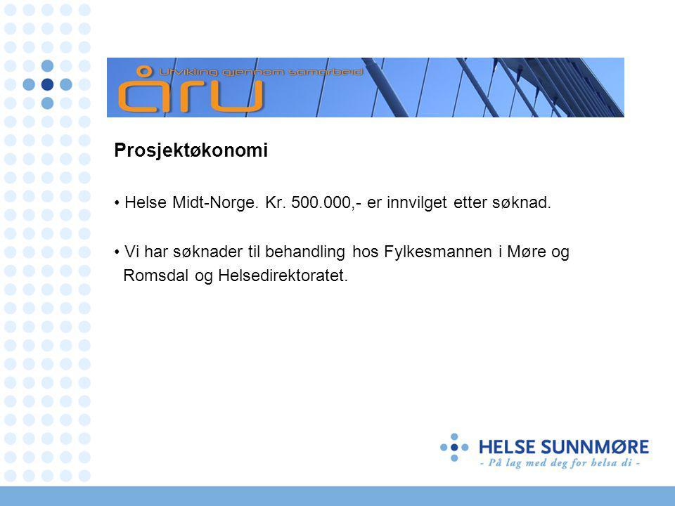 Prosjektøkonomi Helse Midt-Norge. Kr. 500.000,- er innvilget etter søknad.
