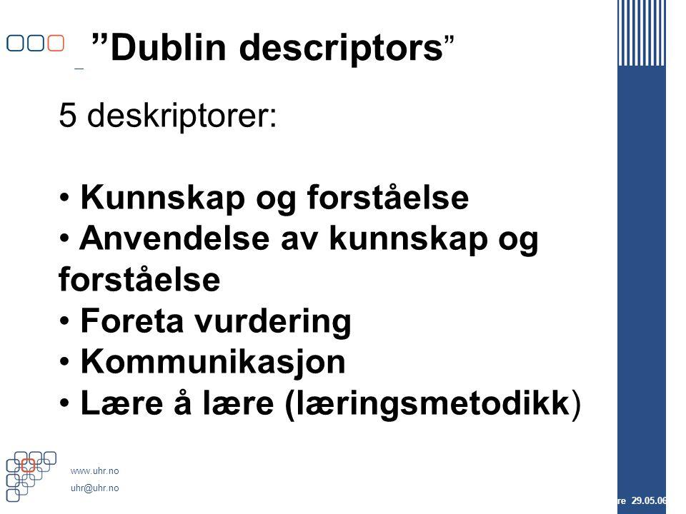 www.uhr.no uhr@uhr.no Dublin descriptors FUS-studieprogramledere 29.05.06 5 deskriptorer: Kunnskap og forståelse Anvendelse av kunnskap og forståelse Foreta vurdering Kommunikasjon Lære å lære (læringsmetodikk)